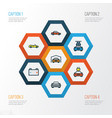 auto colorful outline icons set collection of vector image vector image