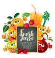 Banner for fresh juice with funny fruits