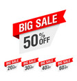 big sale discount labels vector image vector image
