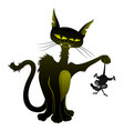 black cat holds a caught mouse in a paw vector image