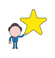 businessman character holding star color and vector image vector image