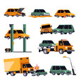 car crash or road accident isolated icons vehicle vector image vector image