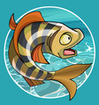 cartoon funny fish perch in a circle vector image vector image