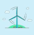 cartoon wind turbine on light blue background vector image