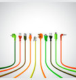 colorful plug wire cables in perspective view vector image vector image