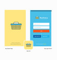 company basket splash screen and login page vector image vector image