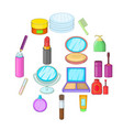 cosmetics items icons set cartoon style vector image