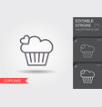 cupcake line icon with editable stroke with vector image vector image