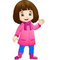 cute little girl wearing winter clothes vector image vector image