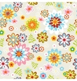 Cute seamless flower pattern line art vector | Price: 1 Credit (USD $1)