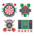 darts tournament or club logo vector image vector image
