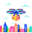 drone over city landscape remote air drone with vector image