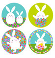 easter bunny graphics with floral patterns on vector image vector image