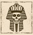 egyptian pharaoh skull head vector image