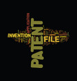 file a patent text background word cloud concept vector image vector image