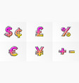 font currency signs alphabet set letters gradient vector image