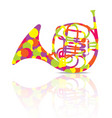 french horn music instrument colorful and white vector image vector image