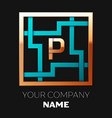golden letter p logo symbol in the square maze vector image