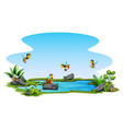 group bee flying over a small pool vector image vector image