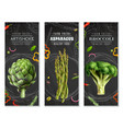 healthy food vertical banners with vegetables vector image