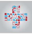 hospital and sick icons in cross eps10 vector image