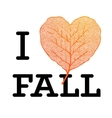 I love Fall - autumn sale poster with leaf heart vector image vector image