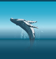 jumping cartoon humpback whale in ocean vector image