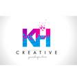 kh k h letter logo with shattered broken blue vector image vector image