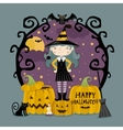 Little girl in witch costume on three pumpkins vector image vector image