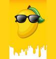 mango on yellow juice texture background vector image