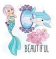 mermaid mirror school autumn sea vector image vector image