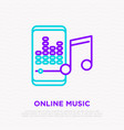 online music line icon smartphone with equalizer vector image vector image
