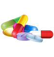 Pile of tablets and pellets vector image vector image
