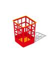 plastic basket red trash bins isolated motley vector image vector image