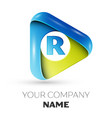 realistic letter r logo colorful triangle vector image vector image