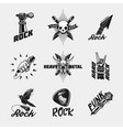 rock music icon set vintage black emblem vector image