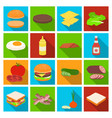 rolls cutlets cheese ketchup salad and other vector image vector image