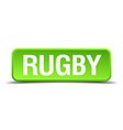 rugby green 3d realistic square isolated button vector image vector image