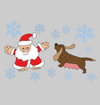 santa claus and zodiac dog vector image