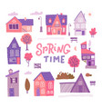set detailed colorful houses for spring design vector image