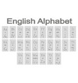 set of monochrome icons with english alphabet vector image vector image