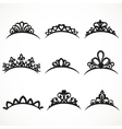 Set of silhouettes of tiaras of various shapes on vector image vector image