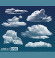 set realistic transparent night clouds vector image