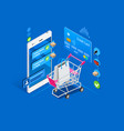 shopping cart mobile interface vector image vector image