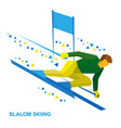 slalom skiing sportsman ski slope down vector image
