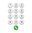 smartphone dial keypad screen on white background vector image vector image
