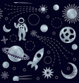 space luxury silver seamless pattern vector image vector image