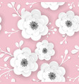 spring floral background with 3d papercut flowers vector image