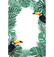 tropical leaves exotic toucan bird border frame vector image vector image