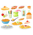 various meat canape snacks appetizer fish and vector image vector image